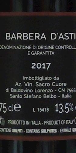 Vinicola Sacro Cuore  Barbera d'Asti DOCG 2018