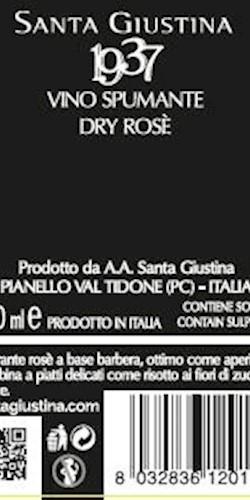 Santa Giustina 19.37 SPUMANTE ROSE' 2018