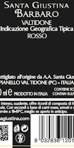 Santa Giustina BARBARO IGT  VALTIDONE ROSSO 2015