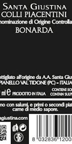 Santa Giustina COLLI PIACENTINI BONARDA DOC 2019