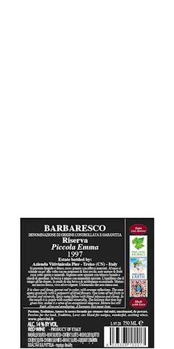 Pier Paolo Grasso Barbaresco Riserva docg PiccolaEmma 1997 1997