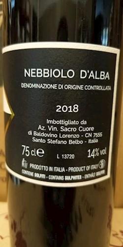 Vinicola Sacro Cuore  Nebbiolo d'Alba DOC 2018 2018