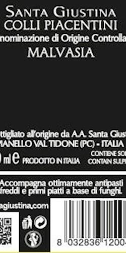 Santa Giustina COLLI PIACENTINI MALVASIA 2019