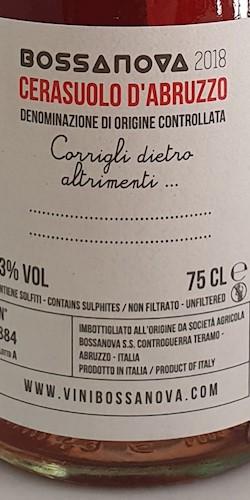 Cantina Bossanova Cerasuolo d'Abruzzo DOC 2018