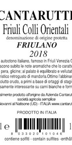 CANTARUTTI ALFIERI  FRIULANO  2018