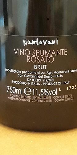 Azienda Agricola Mantovani Paolo Spumante Rosato Brut 2017